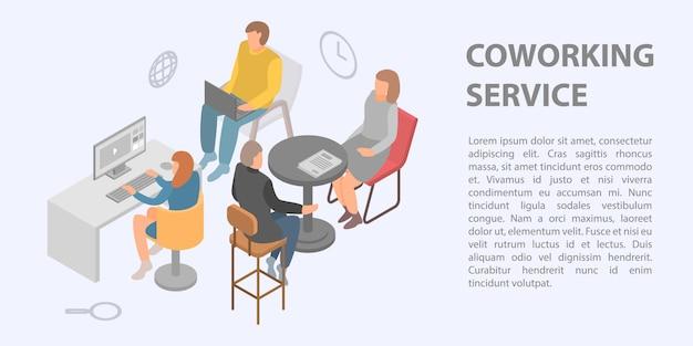 Insegna di concetto di servizio di coworking, stile isometrico Vettore Premium