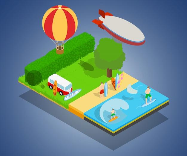Insegna di concetto di turismo caldo, stile isometrico Vettore Premium