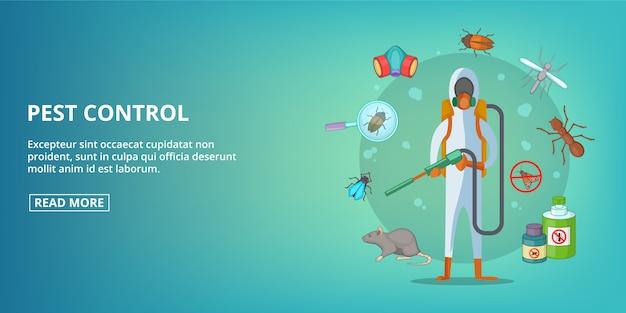 Insegna di controllo dei parassiti orizzontale, stile cartoon Vettore Premium