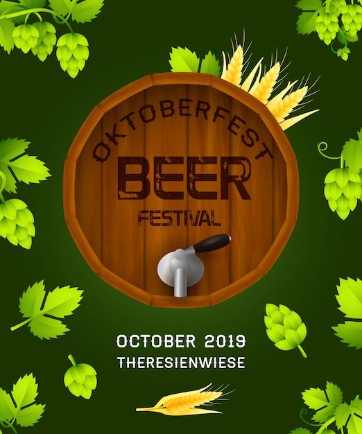 Insegna di festival della birra di oktoberfest su verde scuro Vettore gratuito