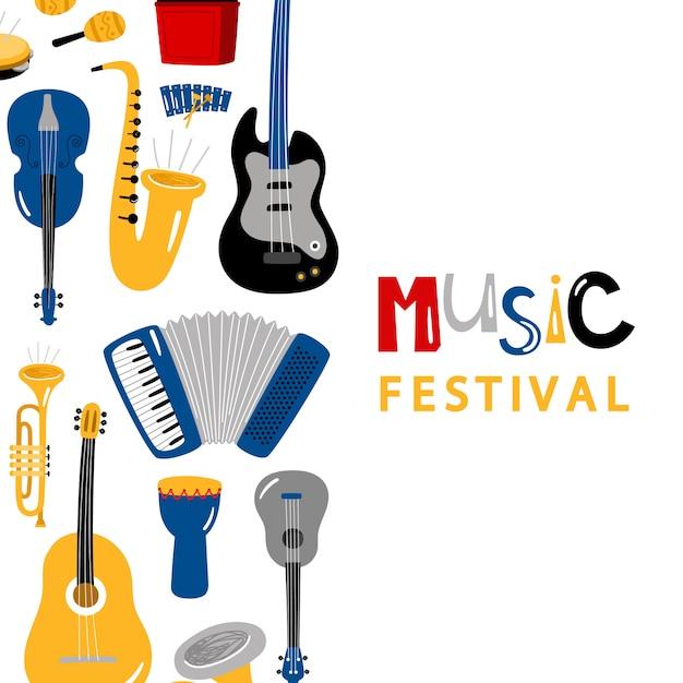 Insegna di festival di musica con progettazione di vettore degli strumenti del personaggio dei cartoni animati Vettore Premium