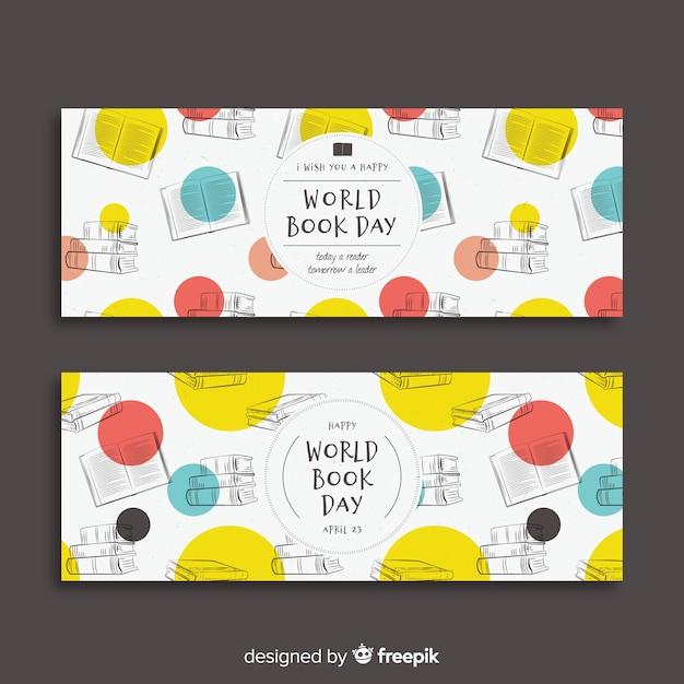 Insegna di giorno del libro di mondo disegnato a mano Vettore gratuito