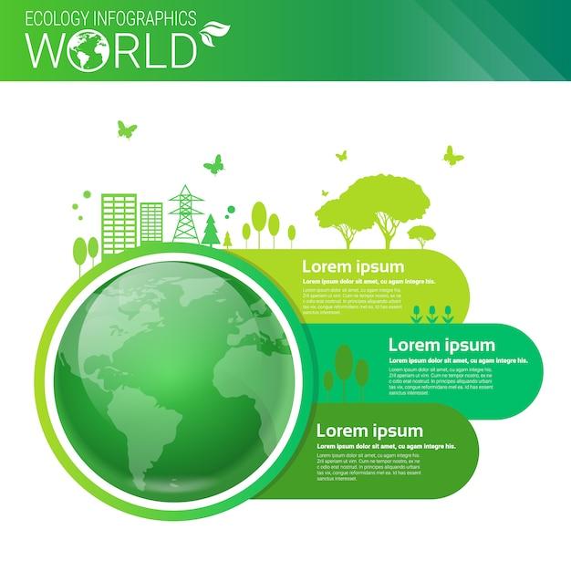 Insegna di infographics di ecologia verde di energia di protezione dell'ambiente verde con lo spazio della copia Vettore Premium
