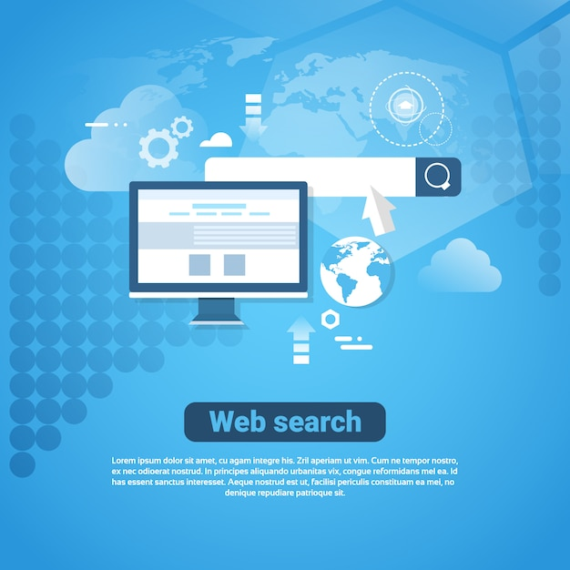 Insegna di internet del modello con il concetto di ricerca di web dello spazio della copia Vettore Premium