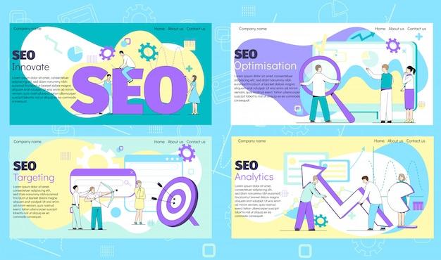 Insegna di internet di seo per il web di affari, sito, sito web sull'illustrazione di web con i lavoratori. Vettore Premium