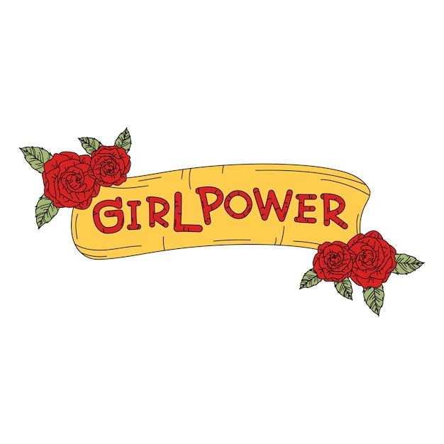 Insegna di potere della ragazza con il vettore dei fiori Vettore gratuito