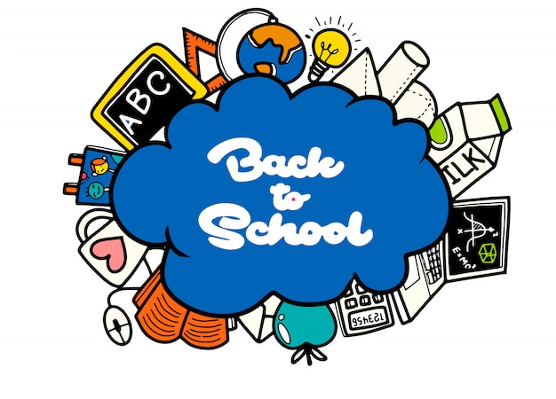 Insegna di ritorno a scuola con struttura dalle icone di arte di linea di istruzione Vettore Premium
