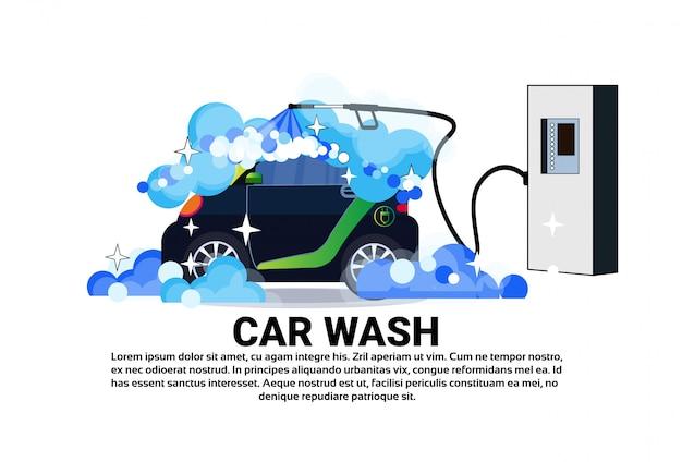 Insegna di servizio dell'autolavaggio con il veicolo di pulizia Vettore Premium