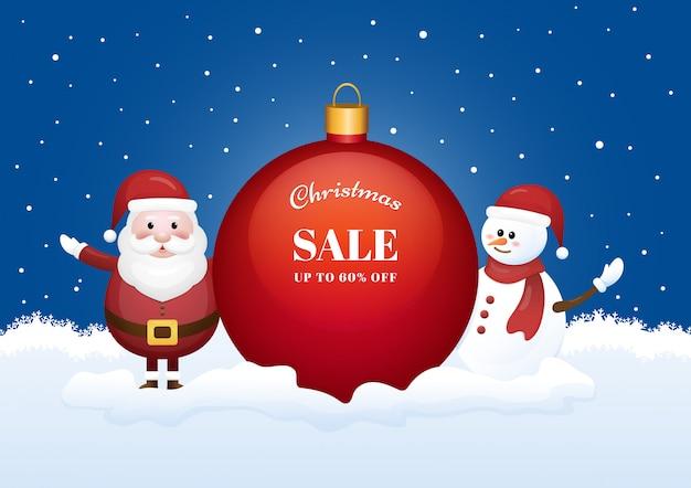 Insegna di stagione di vendita di natale con babbo natale e pupazzo di neve su sfondo invernale. Vettore Premium