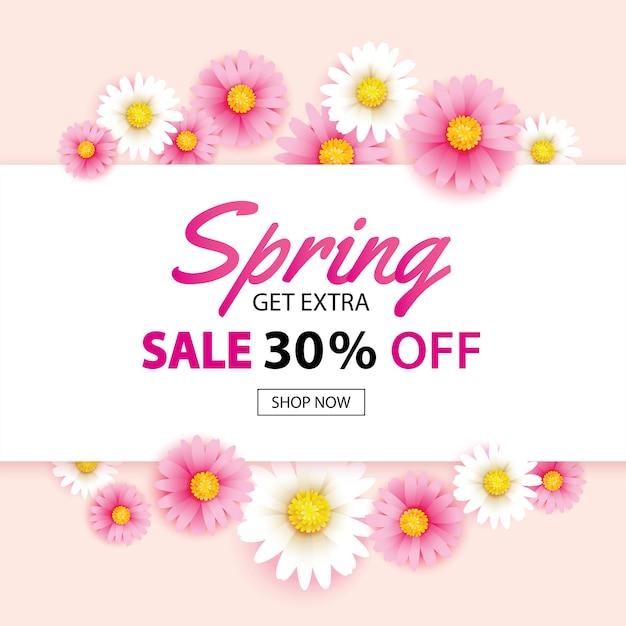 Insegna di vendita della primavera con il modello del fondo dei fiori di fioritura Vettore Premium