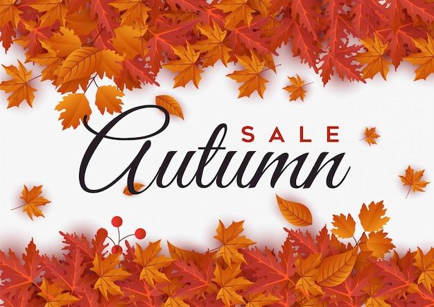 Insegna di vendita di autunno con l'illustrazione delle foglie Vettore Premium