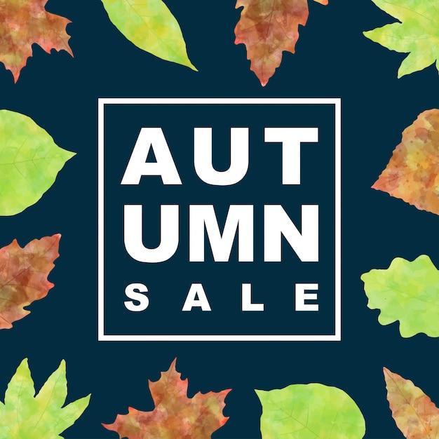 Insegna di vendita di autunno con le foglie dell'acquerello Vettore Premium