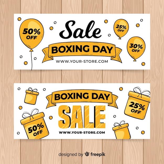 Insegna di vendita di giorno di boxe di palloncini e scatole Vettore gratuito