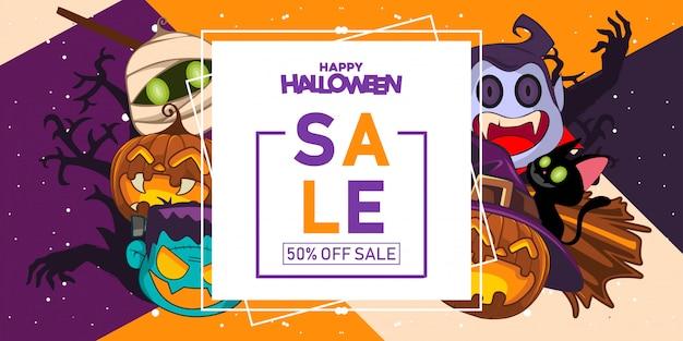 Insegna di vendita di halloween con l'illustrazione del costume di halloween Vettore Premium