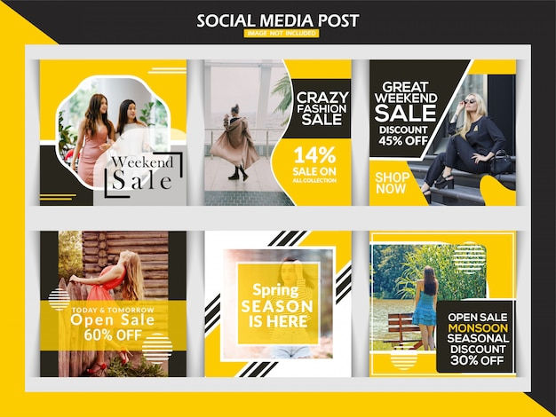 Insegna di vendita di moda o insieme del modello della posta quadrata di instagram Vettore Premium