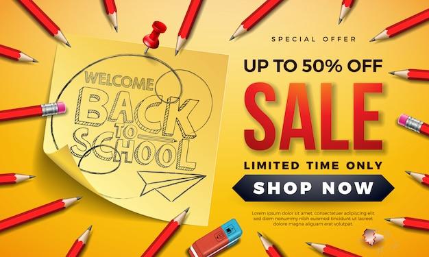 Insegna di vendita di ritorno a scuola con la matita della grafite e le note appiccicose su giallo Vettore Premium