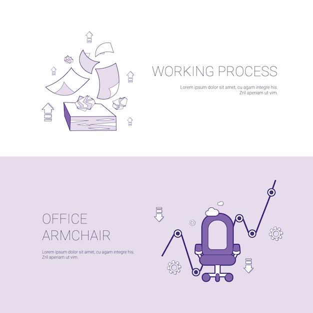 Insegna di web del modello di concetto della poltrona dell'ufficio e di processo di lavoro con lo spazio della copia Vettore Premium
