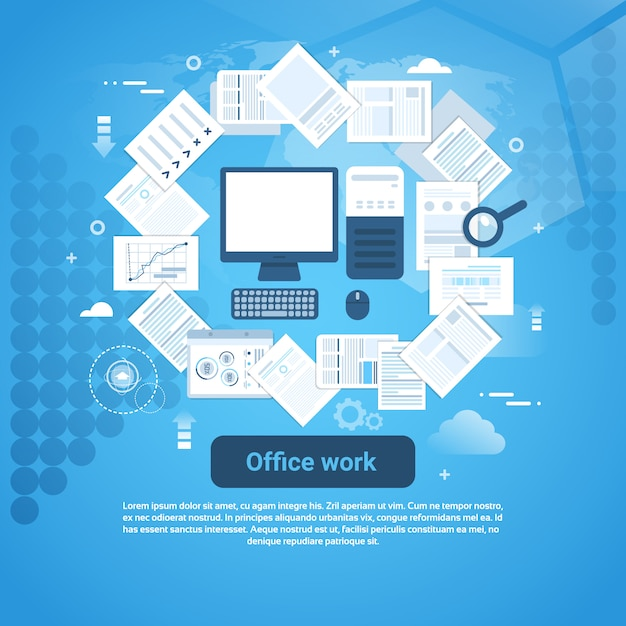Insegna di web del modello di lavoro di ufficio di lavoro di ufficio con lo spazio della copia Vettore Premium