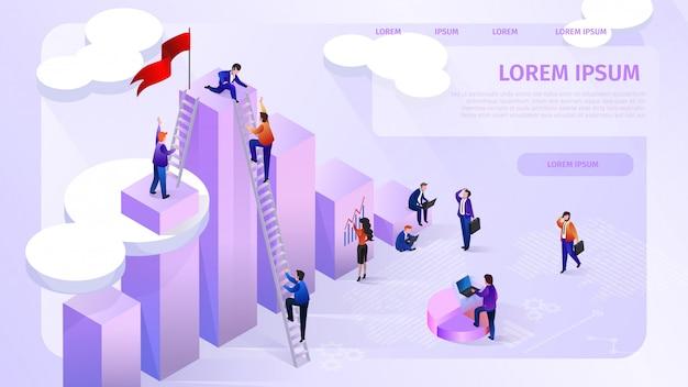 Insegna di web di vettore di isometrica della società analitica di dati Vettore Premium