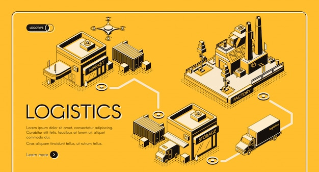 Insegna di web di vettore di isometrico di servizio di logistica di affari Vettore gratuito