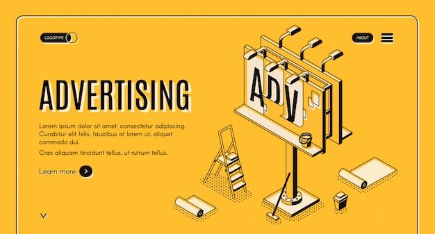 Insegna di web di vettore isometrico di agenzia pubblicitaria Vettore gratuito