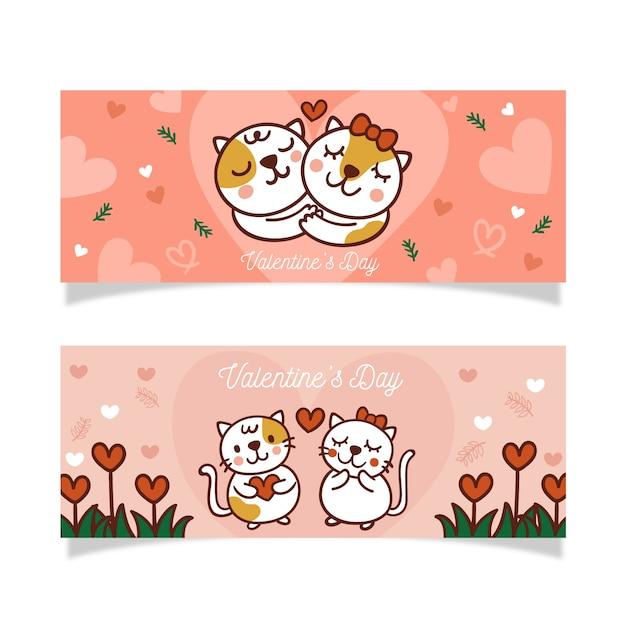 Insegna disegnata a mano di san valentino e gattini adorabili Vettore gratuito