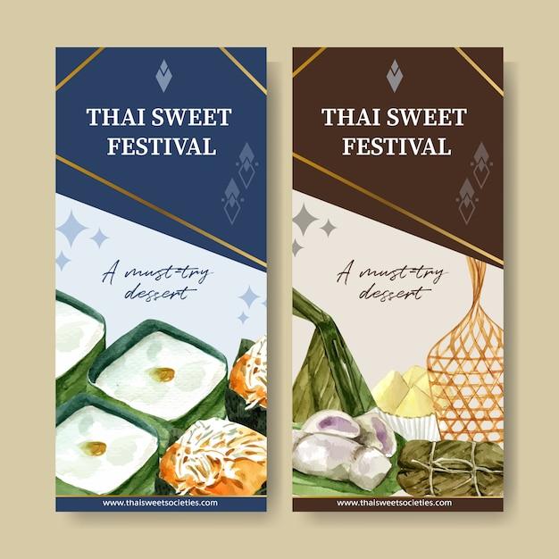 Insegna dolce tailandese con budino, banana, illustrazione dell'acquerello del riso appiccicoso. Vettore gratuito