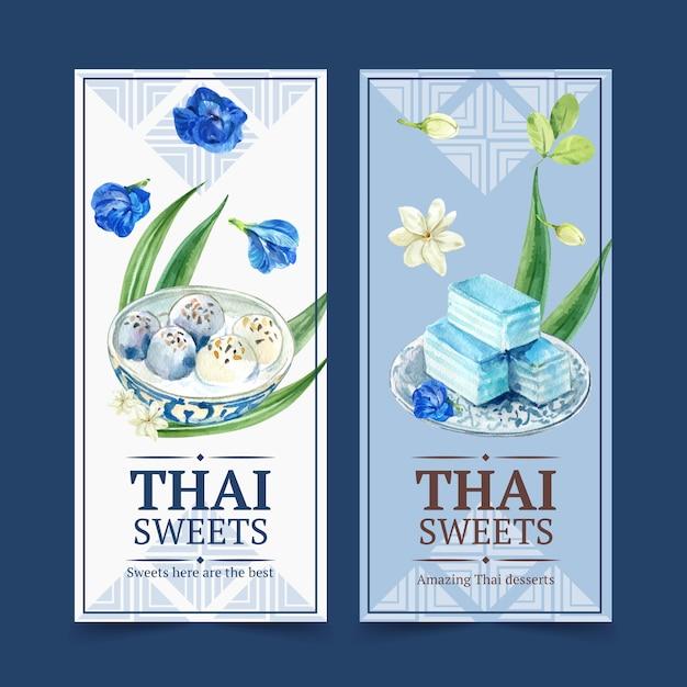 Insegna dolce tailandese con gelatina stratificata, illustrazione dell'acquerello dei fiori. Vettore gratuito