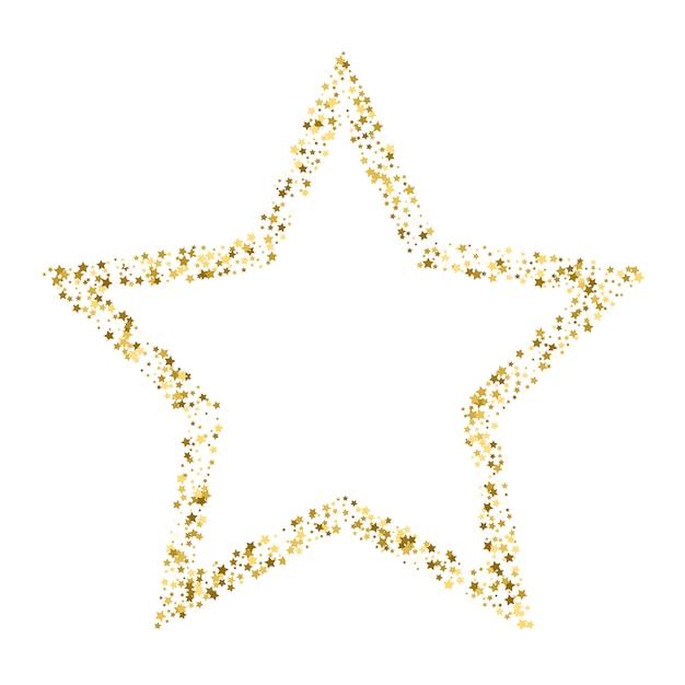 Insegna dorata di vettore della stella su fondo bianco. stella glitterata d'oro Vettore Premium
