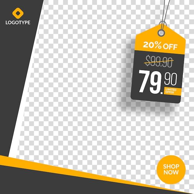 Insegna editabile e bandiera di vendita di media sociali con fondo astratto vuoto Vettore Premium