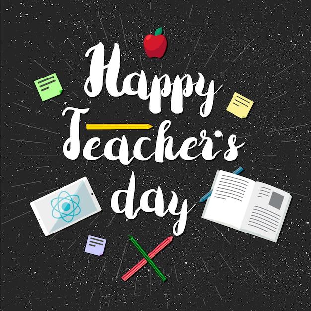 Insegna felice di celebrazione di giornata degli insegnanti Vettore Premium