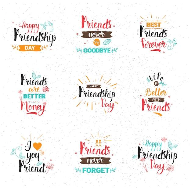 Insegna felice di festa degli amici della raccolta delle carte di auguri dell'insegna di logo di giorno felice di amicizia Vettore Premium