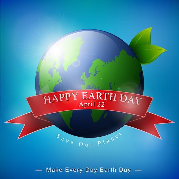 Insegna felice di giornata per la terra su fondo blu Vettore Premium