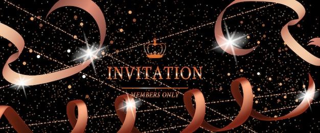 Insegna festiva del partito di lusso dell'invito con il nastro e le scintille Vettore gratuito