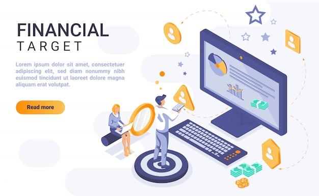 Insegna finanziaria della pagina di atterraggio dell'obiettivo con l'illustrazione isometrica Vettore Premium