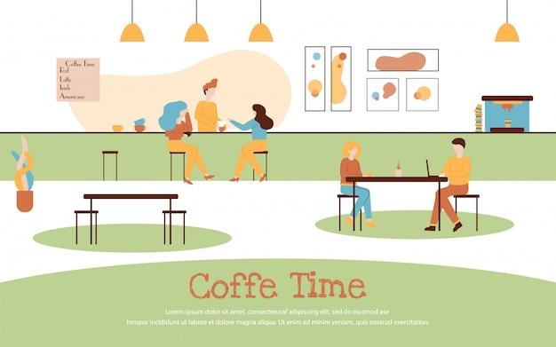Insegna interna del caffè della bevanda della gente del fumetto del caffè Vettore Premium