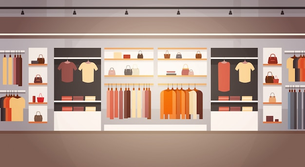 Insegna interna del centro commerciale dei vestiti del centro commerciale del grande supermercato del negozio di modo grande con lo spazio della copia Vettore Premium