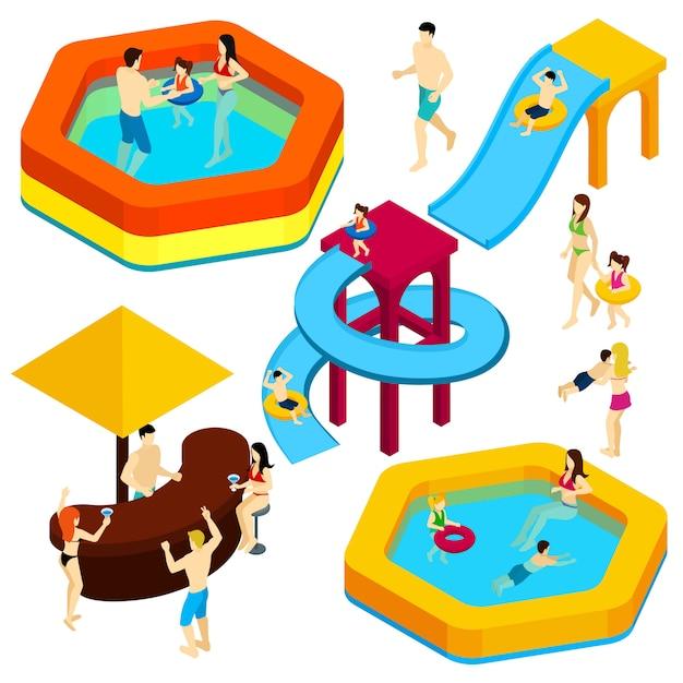Insegna isometrica degli ospiti del parco di divertimenti dell'acqua Vettore gratuito