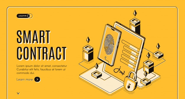 Insegna isometrica del contratto elettronico, Vettore gratuito