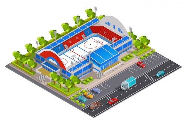 Insegna isometrica dello stadio complesso sportivo Vettore gratuito
