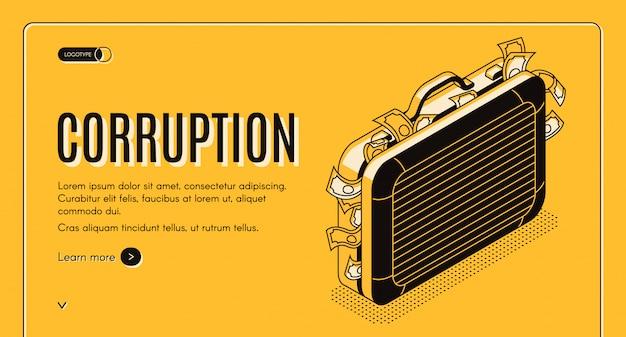 Insegna isometrica di web di corruzione con la valigia piena dell'illustrazione criminale di arte di linea dei soldi. Vettore gratuito