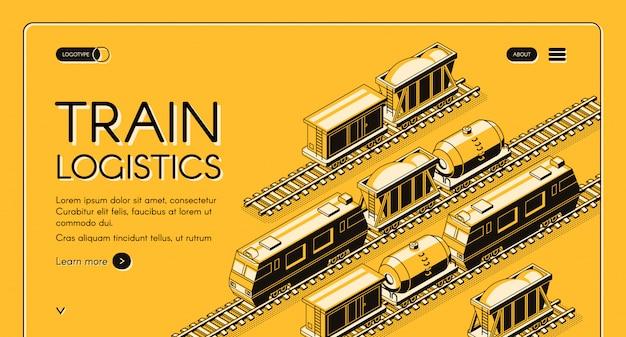 Insegna isometrica di web di servizio di logistica del treno. locomotiva che tira il treno merci Vettore gratuito