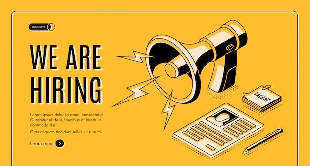 Insegna isometrica di web di vettore dell'agenzia assumente con il candidato di lavoro, pagina del riassunto del candidato di posto vacante Vettore gratuito
