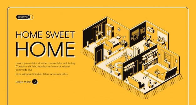 Insegna isometrica di web di vettore di configurazione di posto della dimora della società di costruzioni della casa. Vettore gratuito