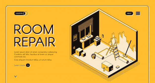 Insegna isometrica di web di vettore di riparazione e della decorazione della stanza dell'appartamento. Vettore gratuito
