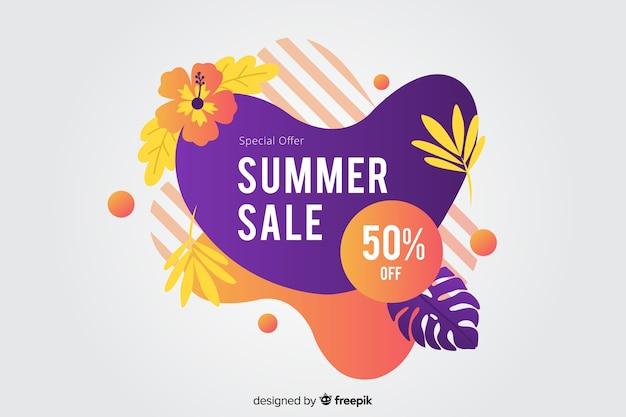Insegna liquida astratta di vendita di estate Vettore gratuito