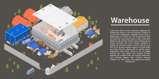Insegna moderna di concetto del magazzino, stile isometrico Vettore Premium
