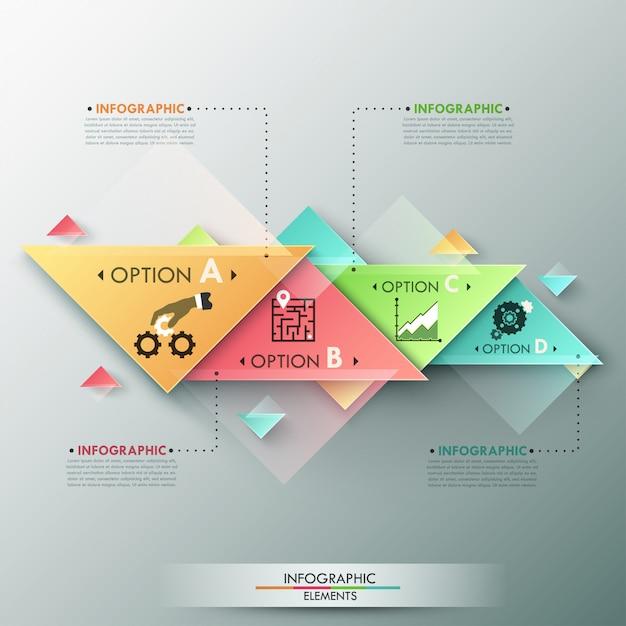 Insegna moderna di opzioni di infographics 3d Vettore Premium