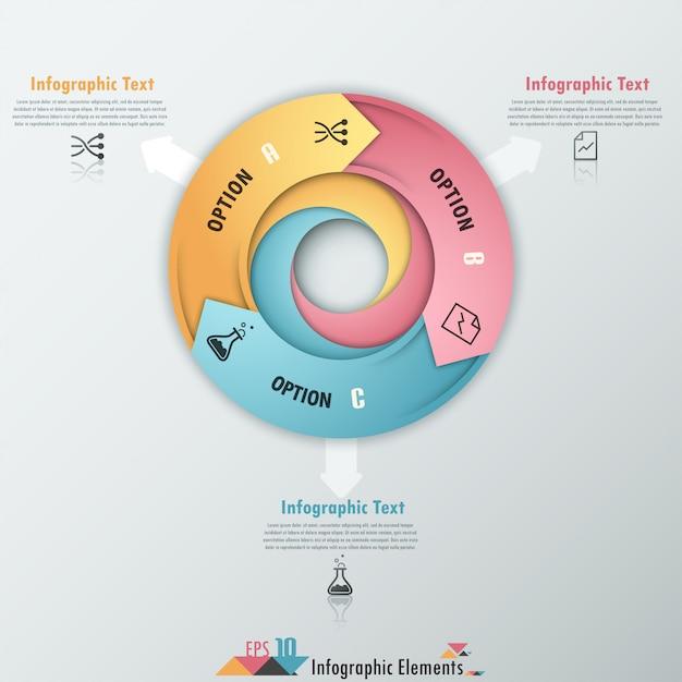 Insegna moderna di opzioni di infographics con le frecce Vettore Premium