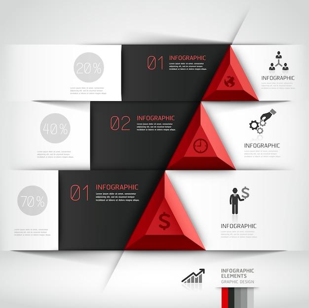 Insegna moderna di opzioni di stile di origami dello steb di affari 3d. Vettore Premium